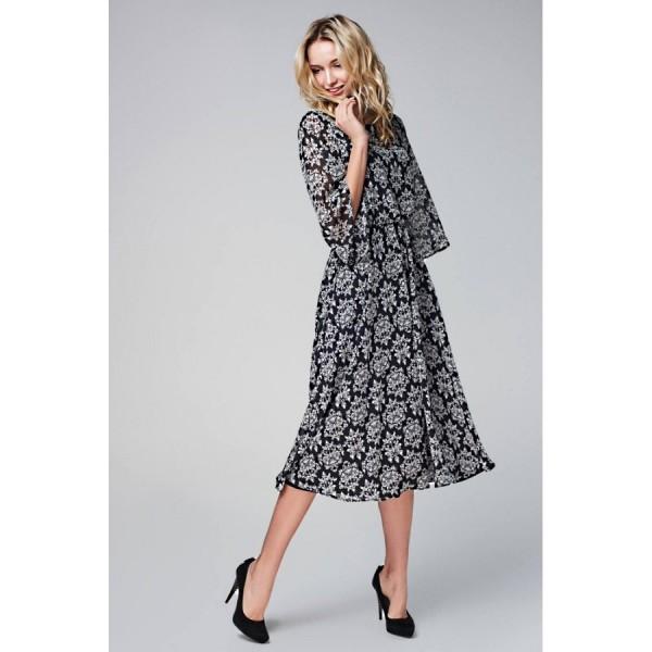 Платье-полусолнце с расклешенным рукавом из черно-белого шифона