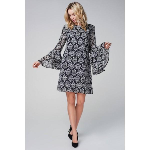 Платье-мини прямое с воланами по рукаву