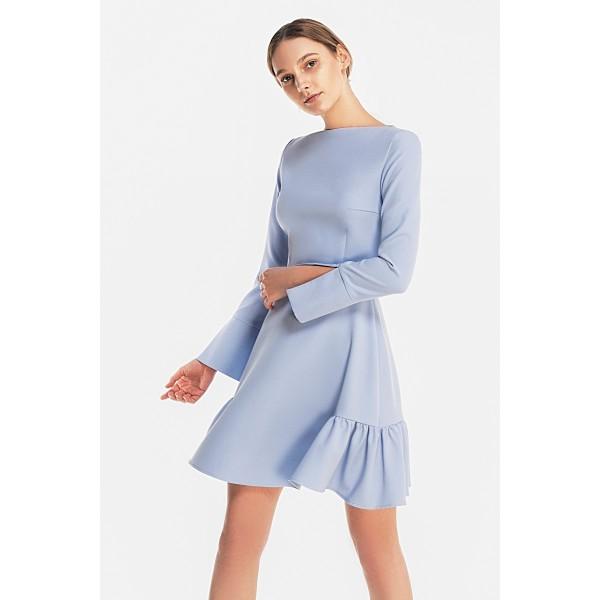 Платье-мини со сборками на юбке
