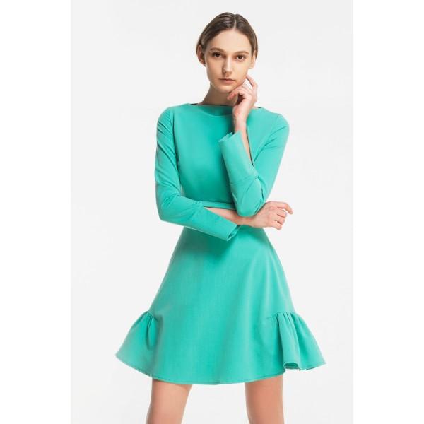 Платье-мини со сборками на юбке светло-зеленое