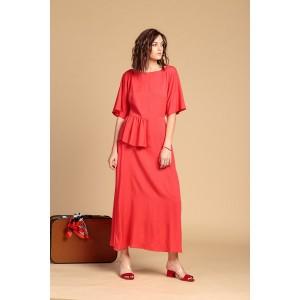 Платье с баской Коралл