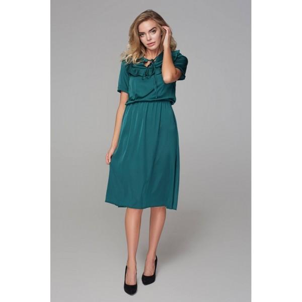 Платье с кокеткой зеленое