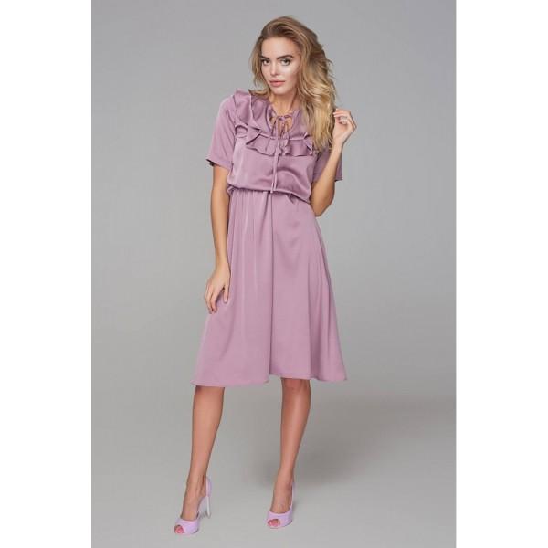 Платье с кокеткой лиловое