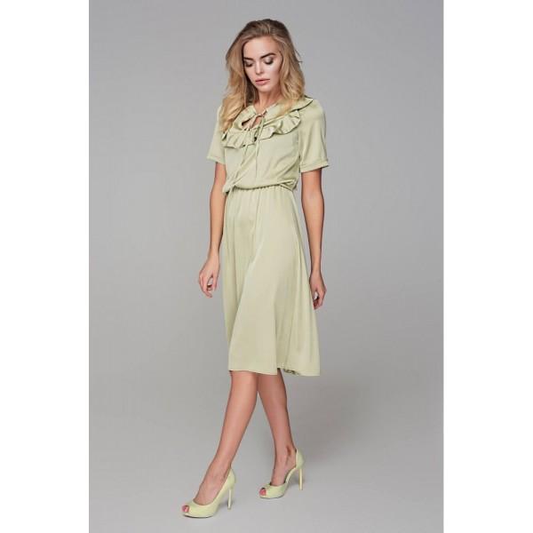 Платье с кокеткой оливка
