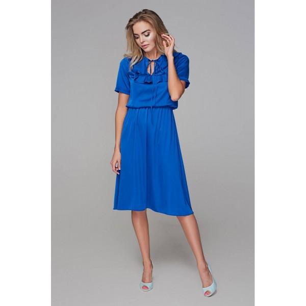 Платье с кокеткой синий