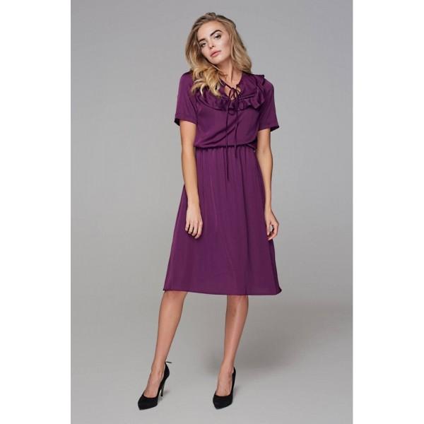 Платье с кокеткой фиолет