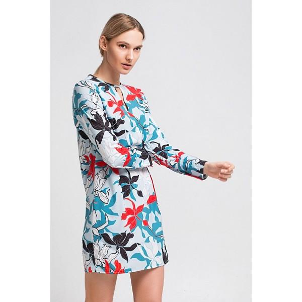 Мини-платье в цветочный принт с вырезом