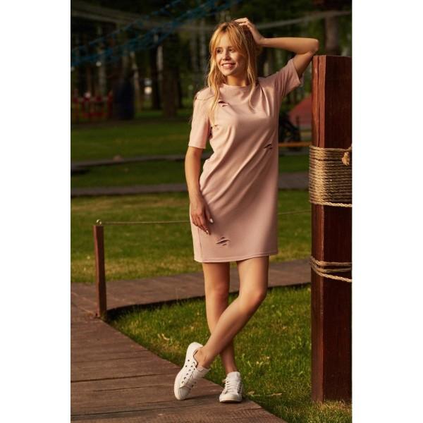 Платье-футболка пудрового цвета
