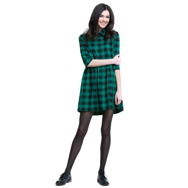 Платье зеленое в клетку G1890grn