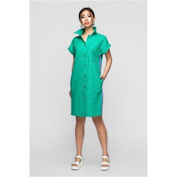 Платье-рубашка льняное мятное