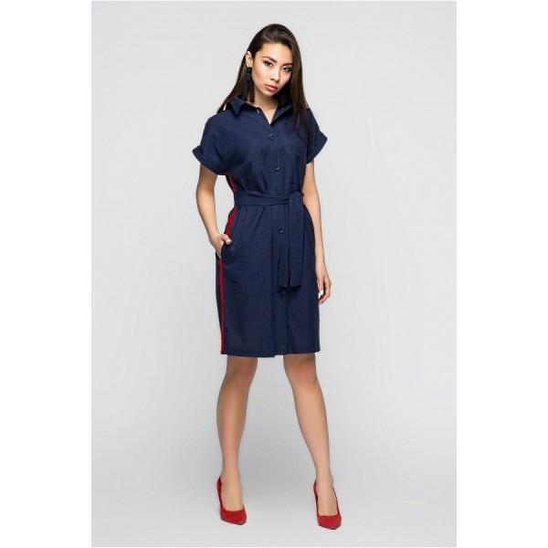 Платье-рубашка льняное синее