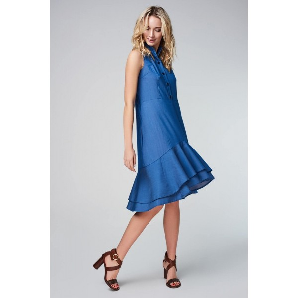 Платье-рубашка джинс