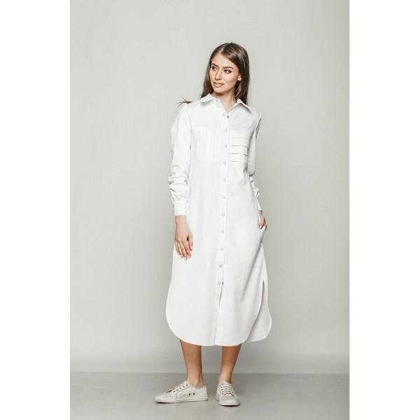 Платье-рубашка удлиненное из коттона