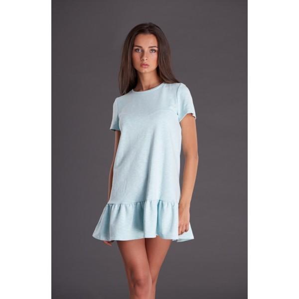 Мятное трикотажное платье с воланом