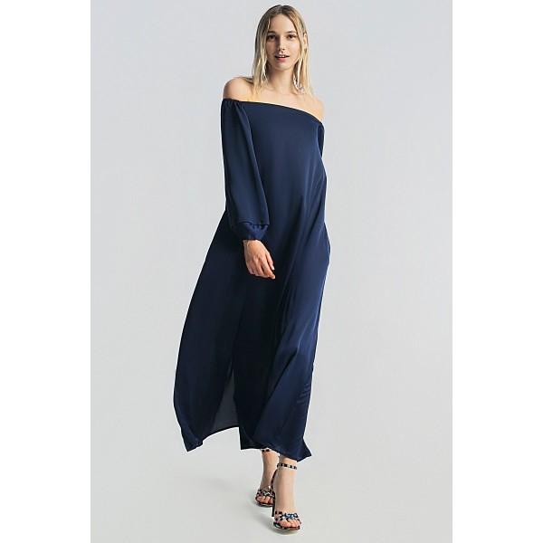 Макси платье с открытыми плечами
