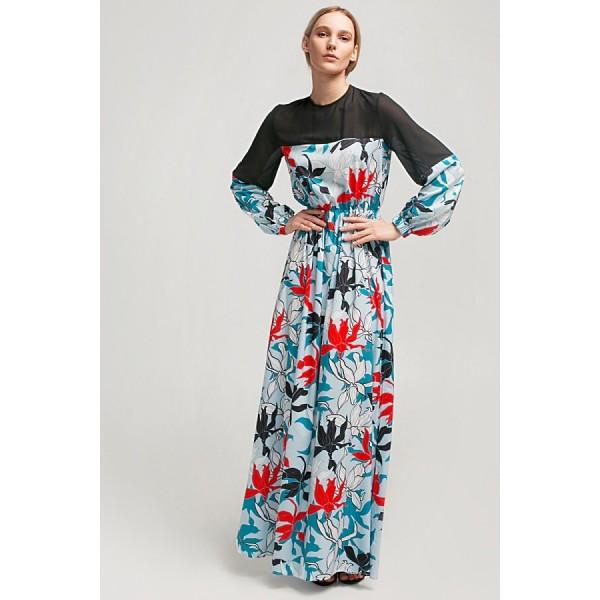 Макси-платье со вставкой из прозрачной ткани