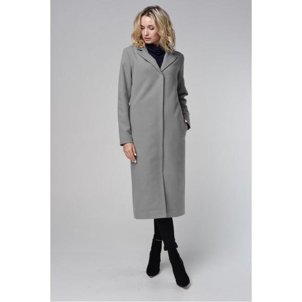 Пальто прямого силуэта серое