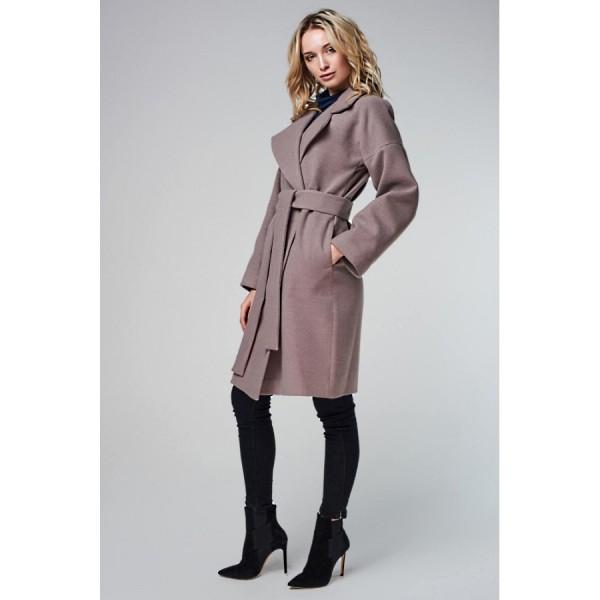 Пальто со спущенным плечом мокко