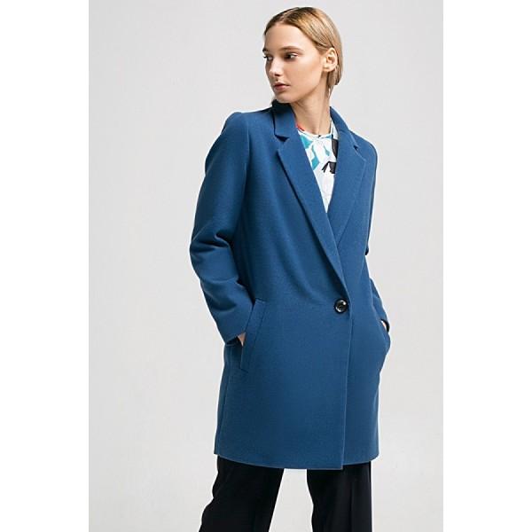 Укороченное двубортное пальто синее